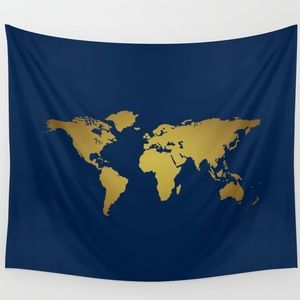 World Map Tapestry Blue and Gold